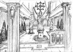 Sketch of  a hallway in Neo Vatican monastery in the prologue